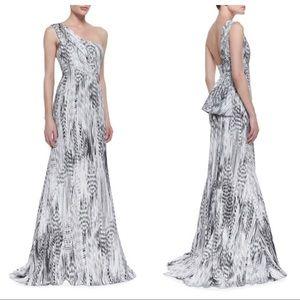 ML Monique Lhuillier One-Shoulder Printed Gown
